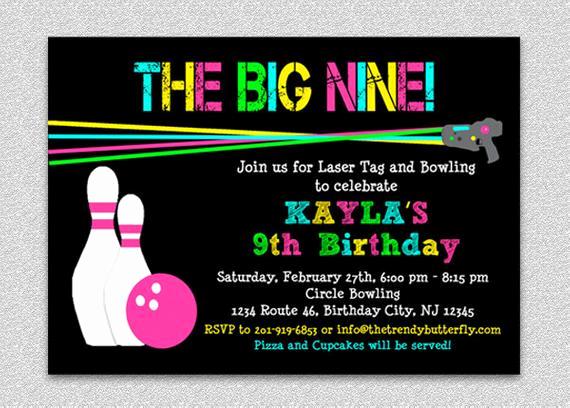 Laser Tag Invitation Wording Beautiful Laser Tag Bowling Birthday Invitation Bowling Birthday Party