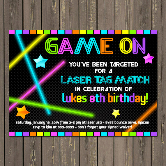 Laser Tag Invitation Wording Beautiful Laser Tag Invitation Laser Tag Birthday Invitation Neon
