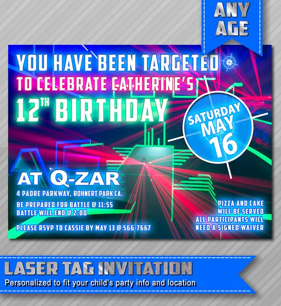 Laser Tag Invitation Wording Beautiful Laser Tag Invitation Laser Tag Birthday Laser by