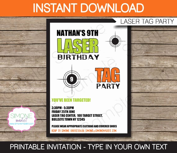 Laser Tag Invitation Wording Beautiful Laser Tag Invitation Template Birthday Party Green and