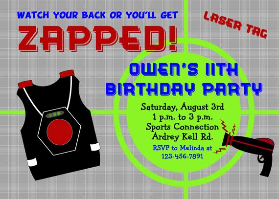 Laser Tag Invitation Wording Best Of Laser Tag Birthday Party Invitation Laser by thebutterflypress