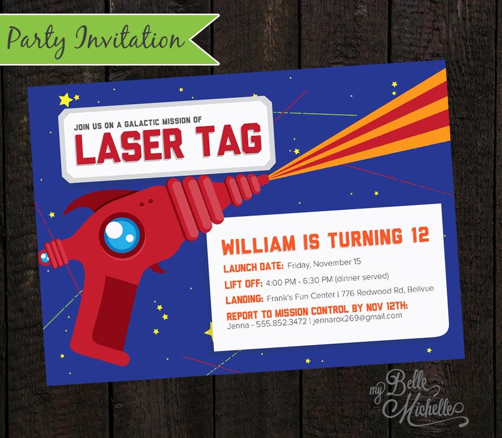 Laser Tag Invitation Wording Elegant Boys Laser Tag Birthday Party Invitation by