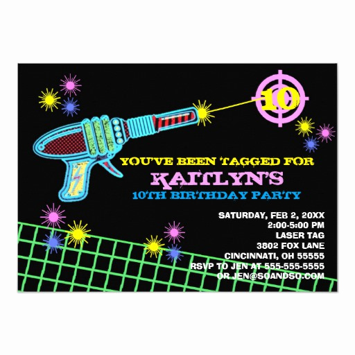 Laser Tag Invitation Wording Fresh Laser Tag Custom Birthday Party Invitation Girl