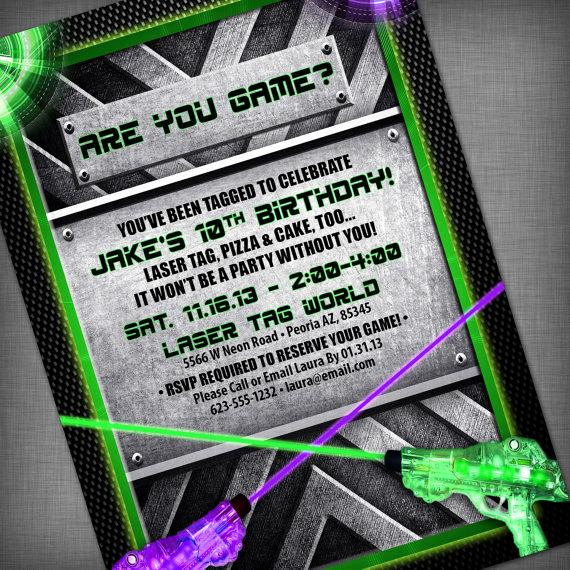 Laser Tag Invitation Wording Fresh Laser Tag Party Customized Printable Invitation by