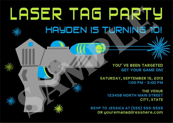 Laser Tag Invitation Wording Inspirational Items Similar to Laser Tag Boy Birthday Party Invitation