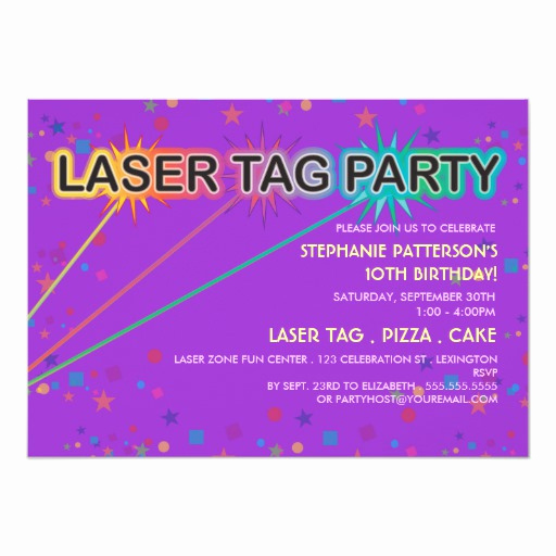 Laser Tag Invitation Wording Lovely Laser Tag Birthday Party Invitation Girl