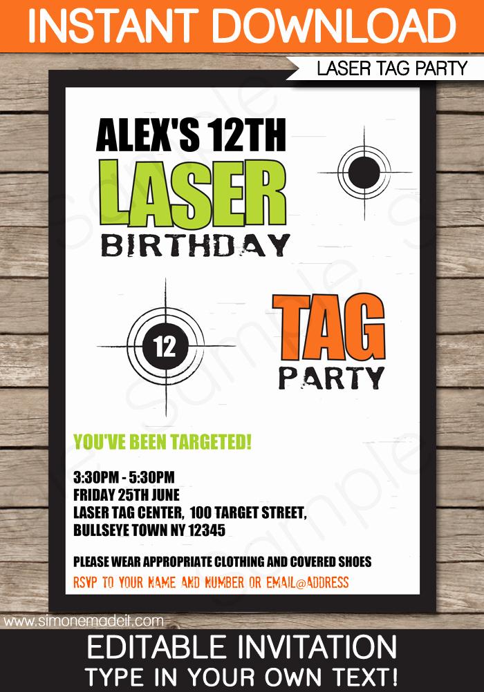 Laser Tag Invitation Wording Lovely Laser Tag Invitation Template
