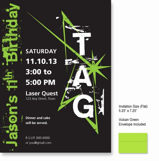 Laser Tag Invitation Wording Luxury Laser Tagged Birthday Invitations Glow In the Dark T