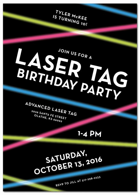 Laser Tag Invitation Wording New Laser Tag Birthday Party Invitations