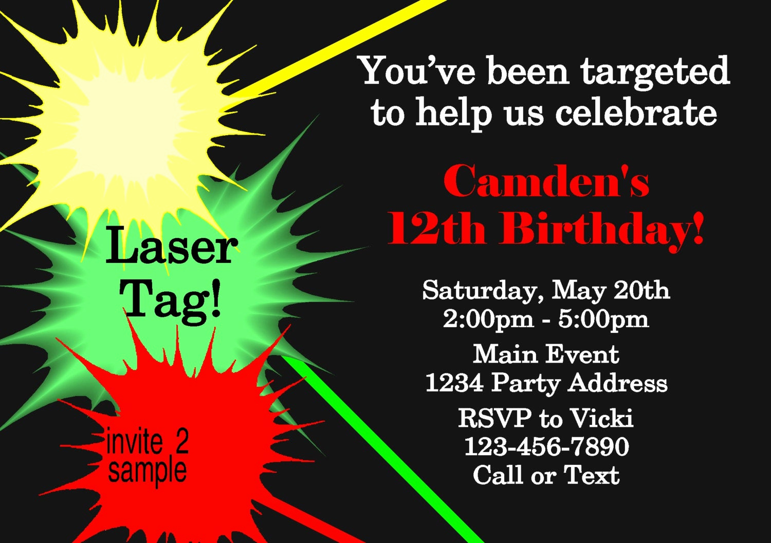 Laser Tag Invitation Wording New Laser Tag Invitation Laser Tag Birthday Party by Jcsaccents