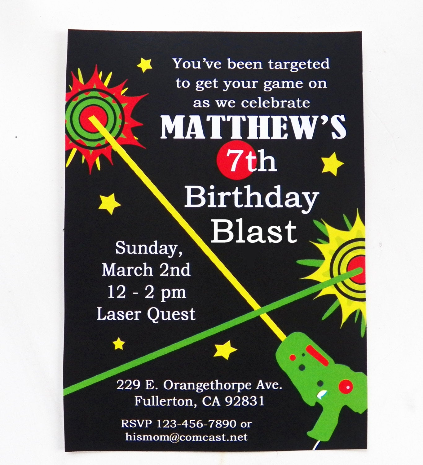 Laser Tag Invitation Wording Unique Laser Tag Birthday Invitation Printable and Printed with Free