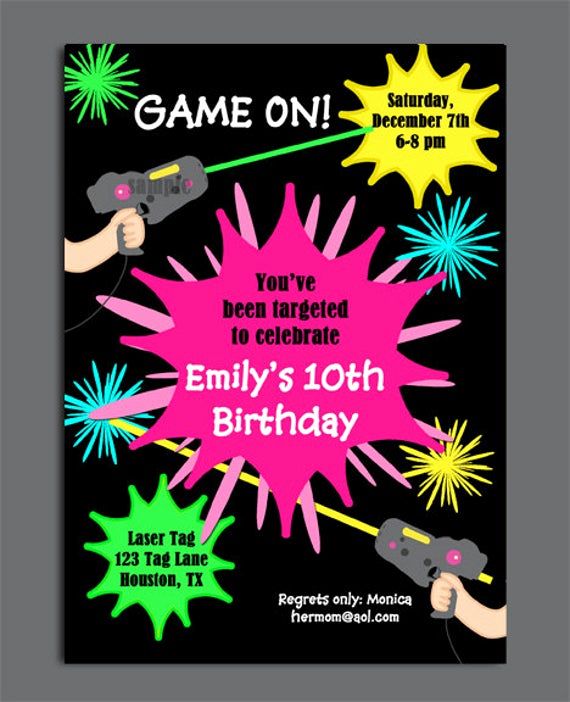 Laser Tag Invitation Wording Unique Laser Tag Girl Birthday Invitation Printable or Printed with