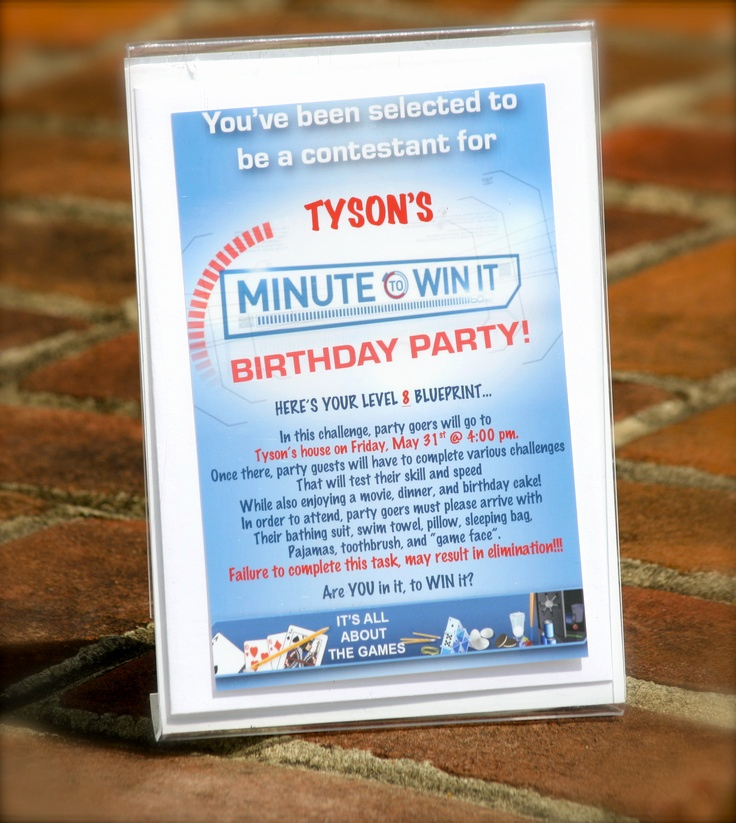 "Last Minute Invitation Quotes Beautiful Tyson S ""minute to Win It"" Party Invite"