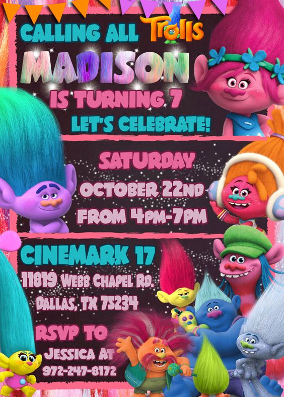 Last Minute Invitation Quotes Fresh Trolls Birthday Party Invitation Make their Birthday