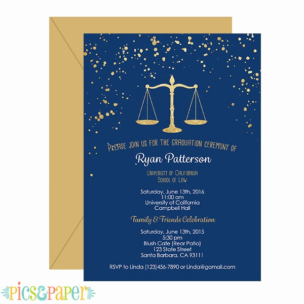 Law School Graduation Invitation Wording Best Of Law School Graduation Invitation Navy and Gold by Picsandpaper
