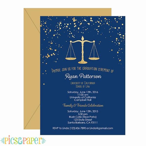 Law School Graduation Invitation Wording Best Of Law School Graduation Invitation Navy and Gold by Picsandpaper
