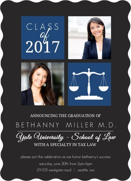Law School Graduation Invitation Wording Elegant School Colors Law School Graduation Invitation