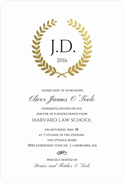 Law School Graduation Invitation Wording New Gold Foil formal Wreath Law School Graduation Invitation