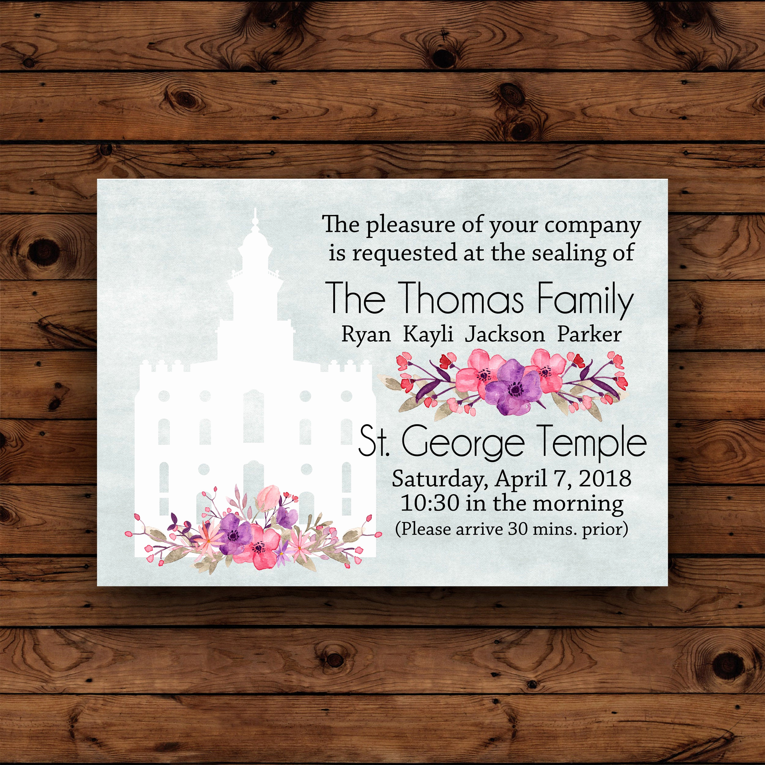 lds family sealing invitation lds