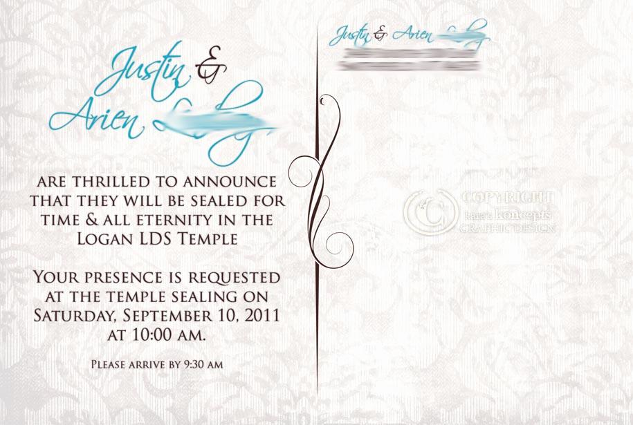 Lds Sealing Invitation Wording Beautiful Kara S Koncepts Graphic Design Custom Wedding