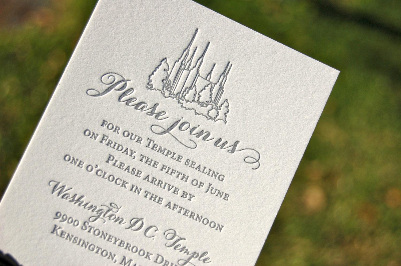 Lds Sealing Invitation Wording Beautiful Lds Wedding Invitations Letterpress Wedding Invitations