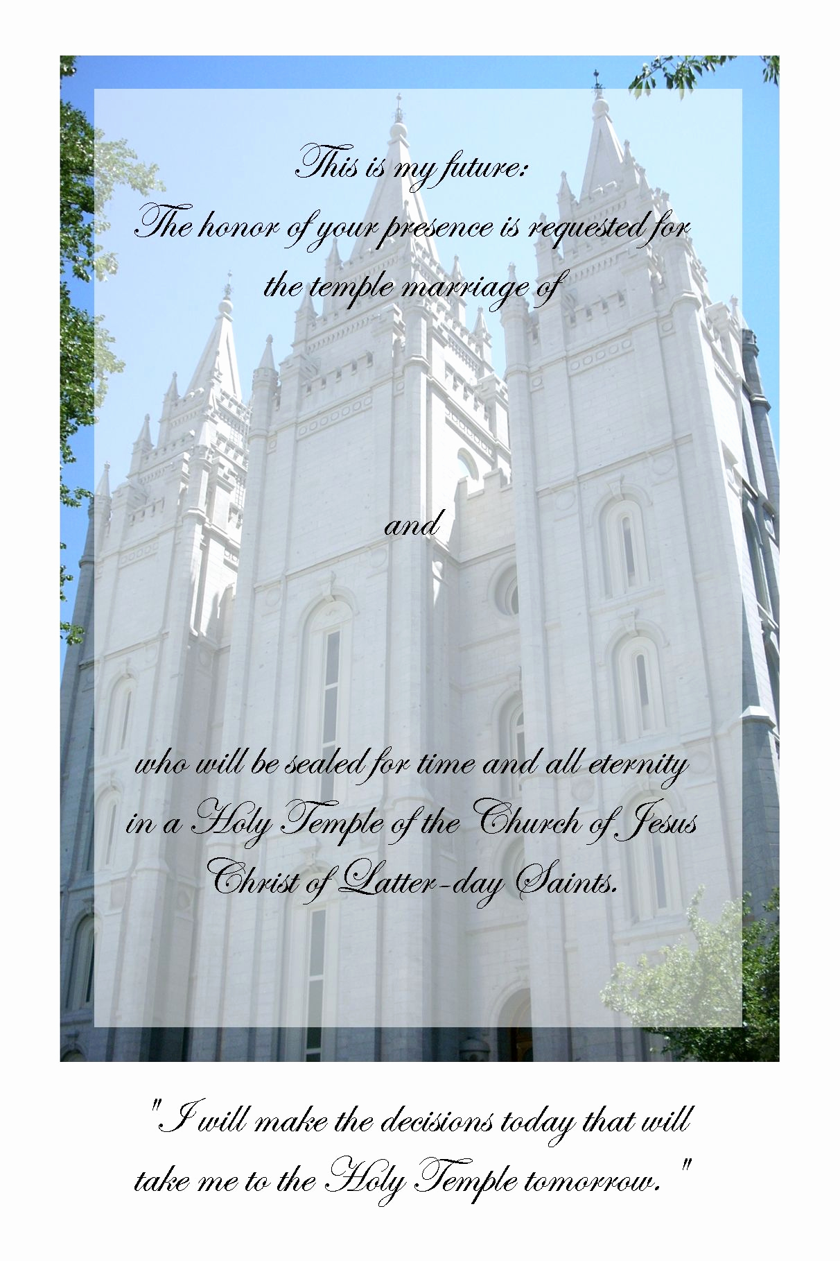 Lds Sealing Invitation Wording Beautiful Lds Young Women Temple Marriage Invite Google Search