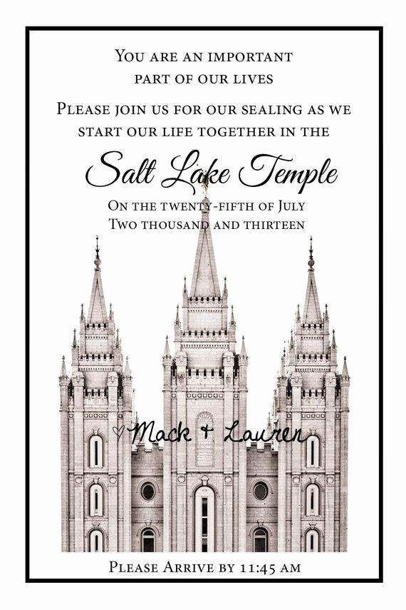 Lds Sealing Invitation Wording Elegant Lds Temple Wedding Ceremony Printable Invitation