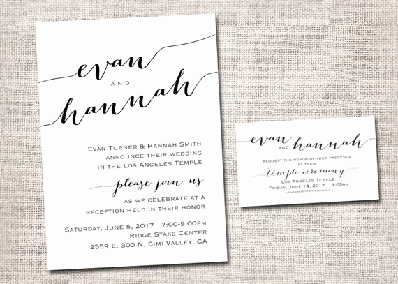 Lds Sealing Invitation Wording Elegant Lds Wedding Invitation Wedding Invitation Wedding Invites