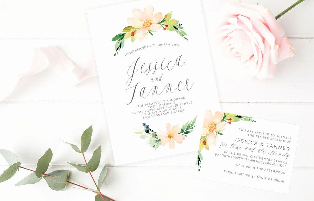 Lds Sealing Invitation Wording Unique Floral Spring Lds Wedding Sealing Invitation