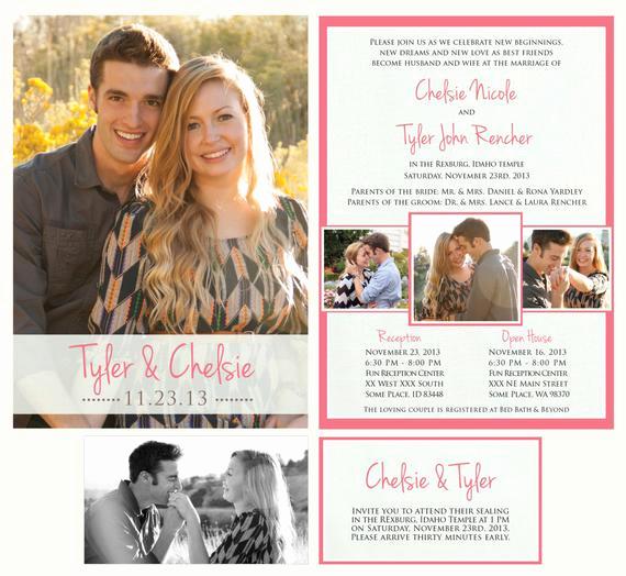 Lds Wedding Invitation Wording Beautiful Printable Wedding Announcement Lds Mormon Wedding Invitation