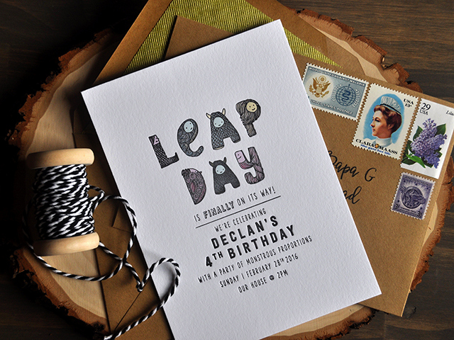 Leap Year Birthday Invitation Beautiful Leap Day Birthday Party Invitations