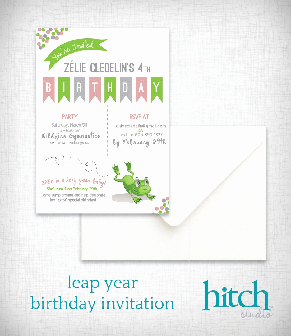 Leap Year Birthday Invitation Elegant Birthday Party Invitation Leap Year