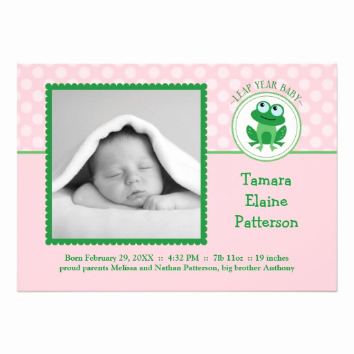 Leap Year Birthday Invitation Luxury Leap Year Girl Birth Announcement Invitation