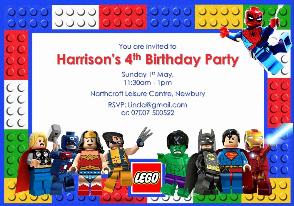 Lego Birthday Invitation Template Beautiful 10 Personalised Lego Superhero Birthday Party Invitations