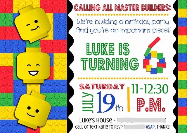 Lego Birthday Invitation Template Beautiful Lego Invitation Smudged …