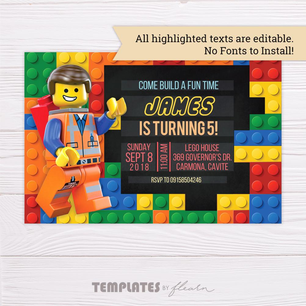 Lego Birthday Invitation Template Elegant Free Lego Invitation Template – Flearn Ph