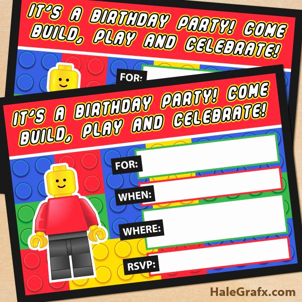 Lego Birthday Invitation Template Elegant Free Printable Lego Building Blocks Birthday Invitation