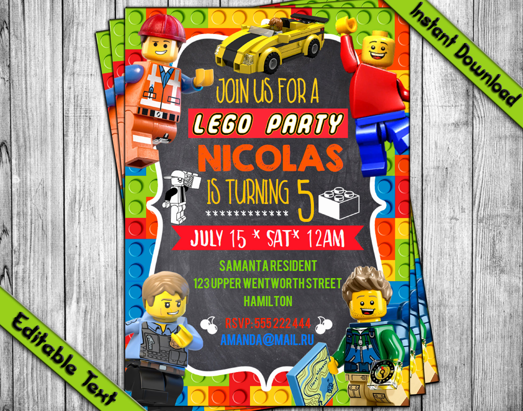 Lego Birthday Invitation Template Fresh Instant Download Lego Invitation Lego Birthday Invitation