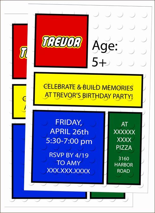 Lego Birthday Invitation Template Inspirational Free Lego Invitation Template