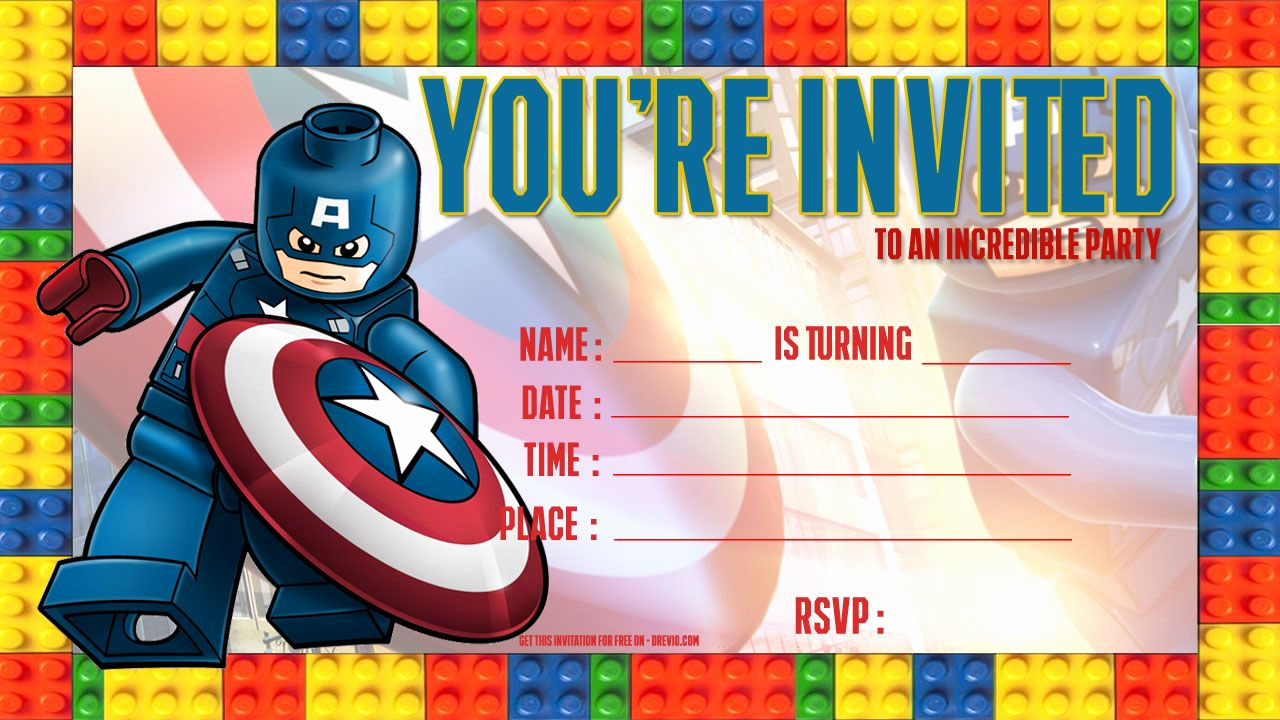 Lego Birthday Invitation Template Lovely Free Lego Captain America Birthday Invitation