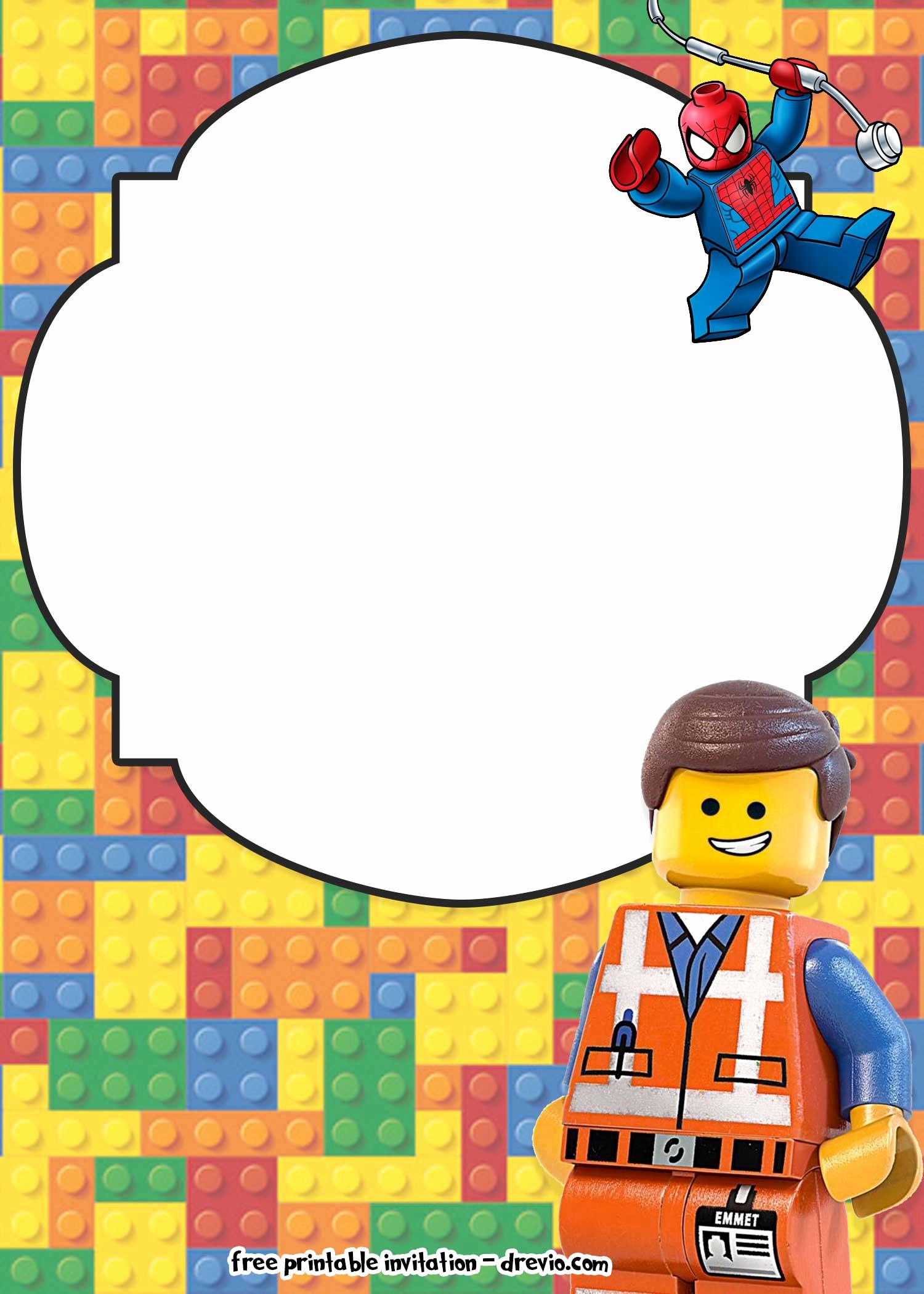 Lego Birthday Invitation Template Lovely Free Lego Movie Invitations for Birthday