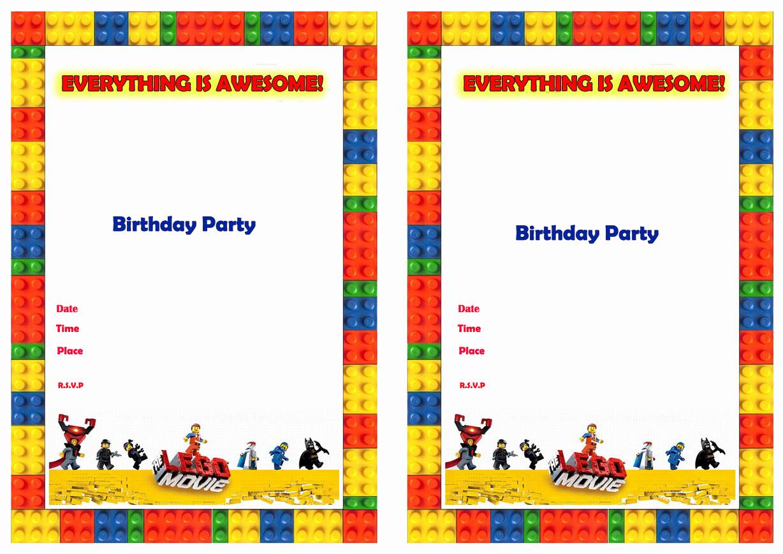 Lego Birthday Invitation Template Lovely Lego Invitations Free