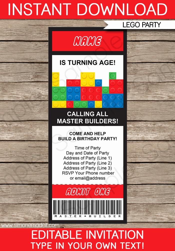 Lego Birthday Invitation Template Lovely Lego Ticket Invitations Birthday Party