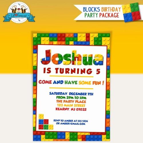 Lego Birthday Invitation Template Luxury Colorful Blocks Birthday Party Invitation Lego