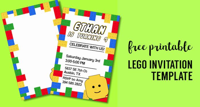 Lego Birthday Invitation Template Luxury Free Printable Lego Birthday Party Invitation Template