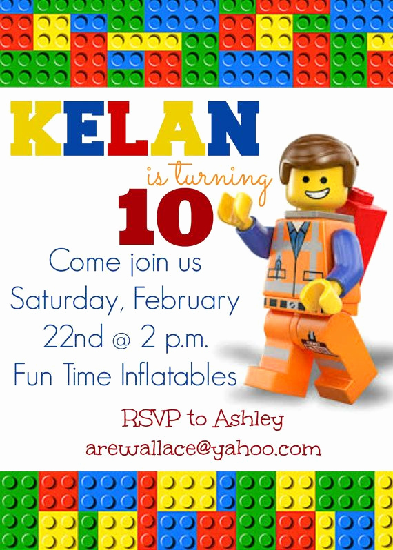 Lego Birthday Invitation Template New Lego Movie Party Invitation by socialbutterflies98 On Etsy