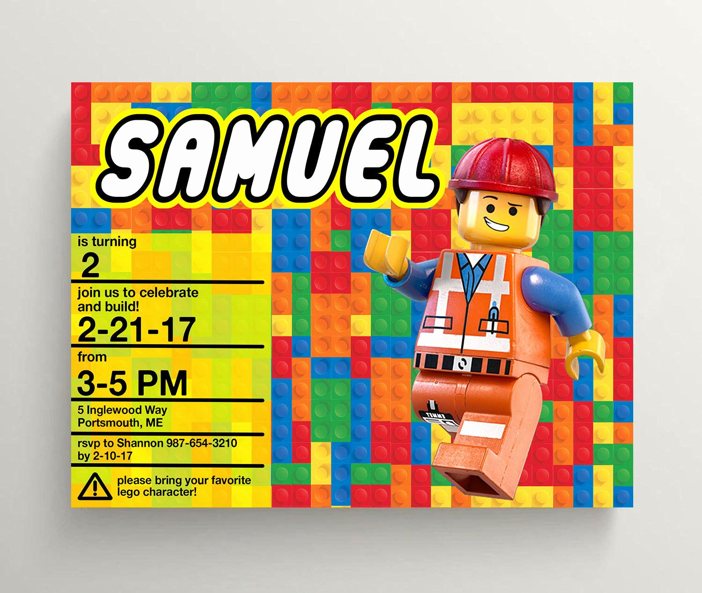 Lego Birthday Invitation Template Unique Lego Movie Birthday Invitations Printable