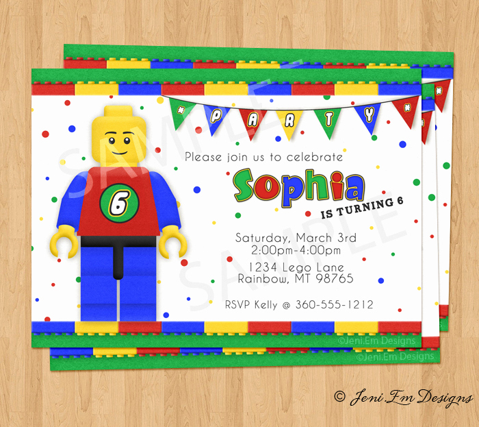Lego Party Invitation Printable Luxury Lego Birthday Party Invitation Printable for Boy or