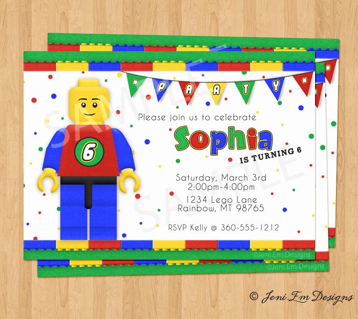Lego Party Invitation Printable Luxury Lego Birthday Party Invitation Printable for Boy or