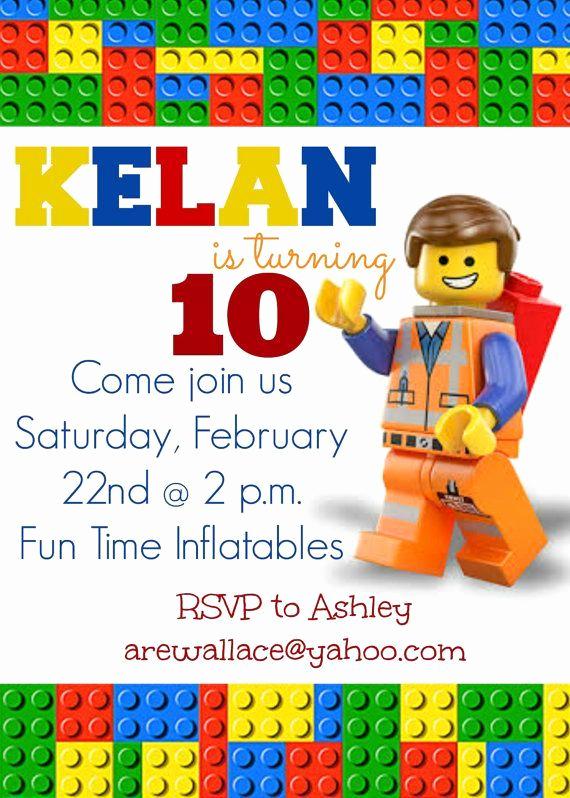 Lego Party Invitation Printable Luxury Lego Movie Party Invitations Lego Movie Party Invitation